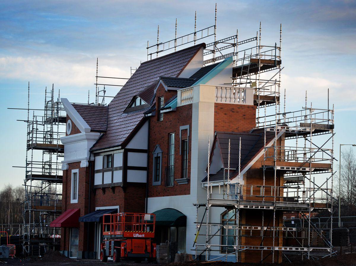 A mock-up facade at the designer outlet village has been captured