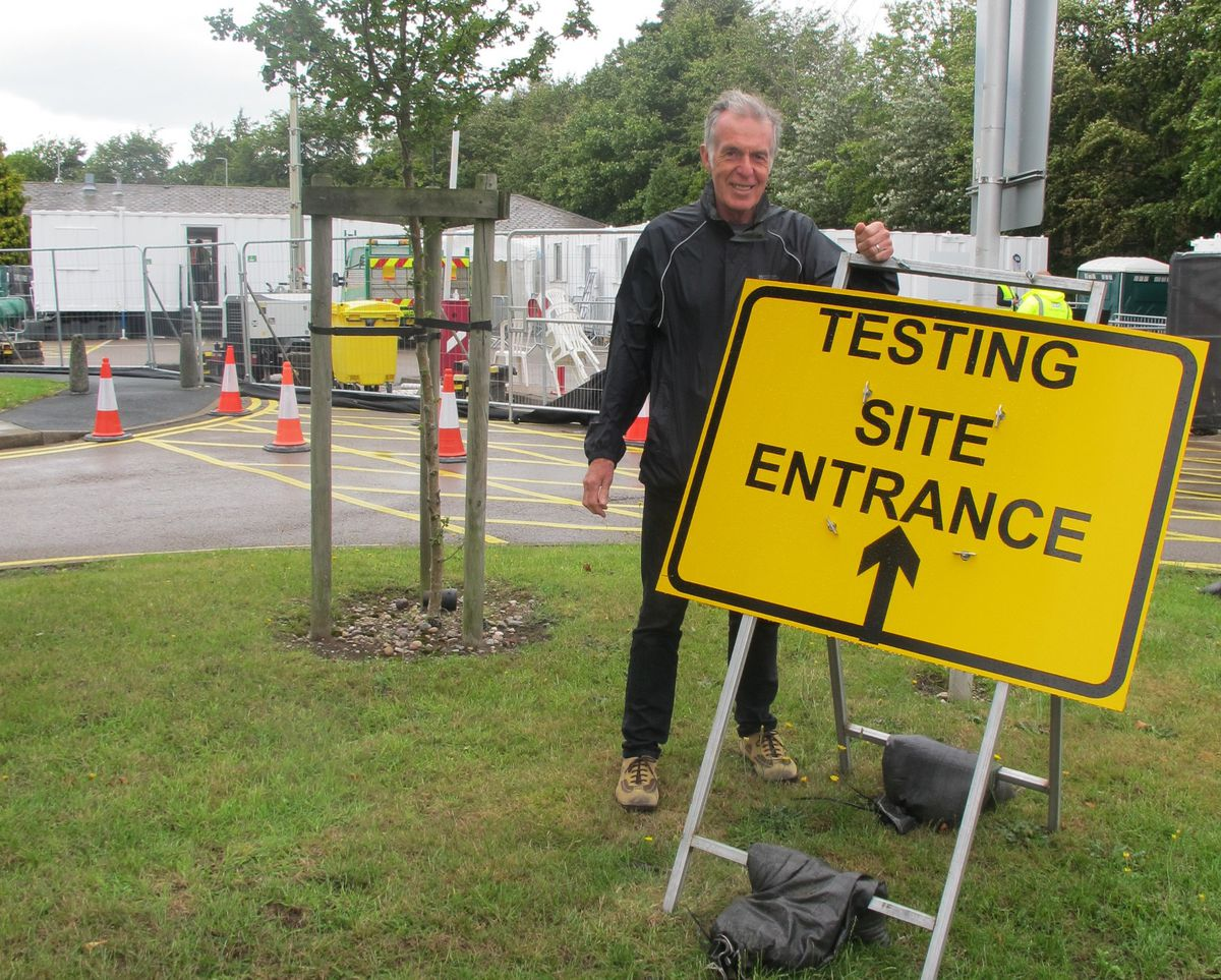 Councillor George Adamson, leader of Cannock Chase Council, outside the new test centre