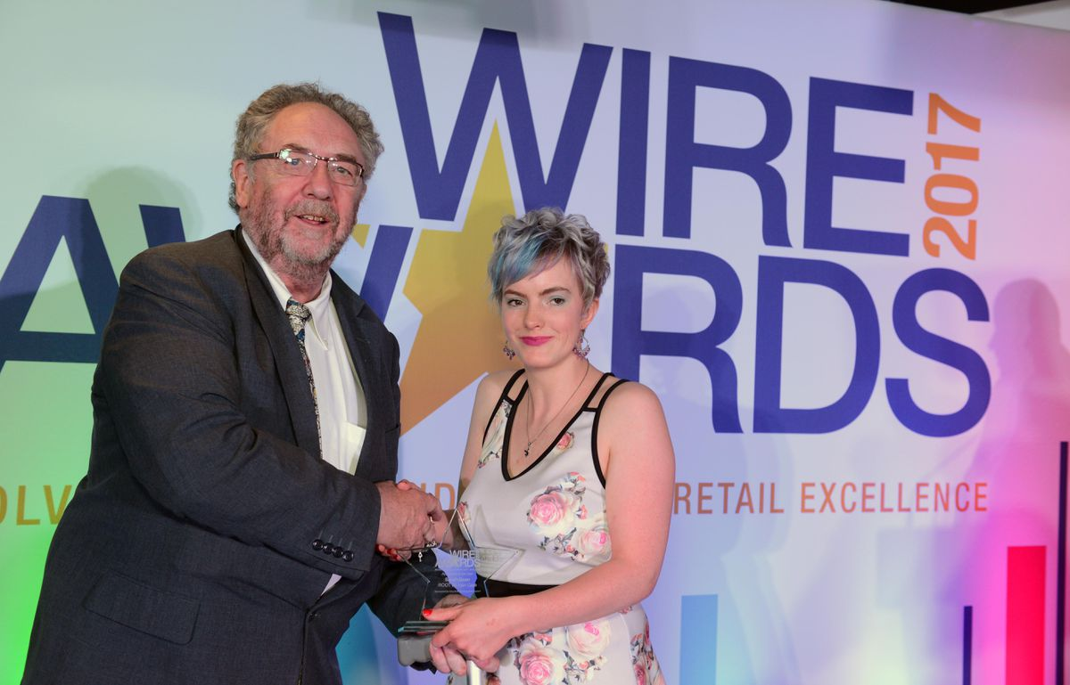 Winner of Apprentice or Trainee of the Year was Sarah Dean from ROOT 66 Hair Care, with Councillor Roger Lawrence from award sponsor Wolverhampton council