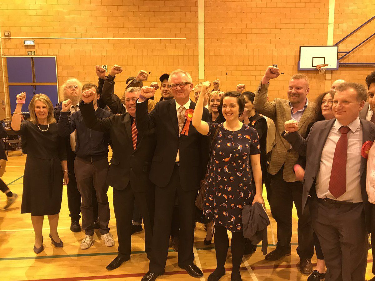 Ian Austin celebrates winning Dudley North after a long and nervous night