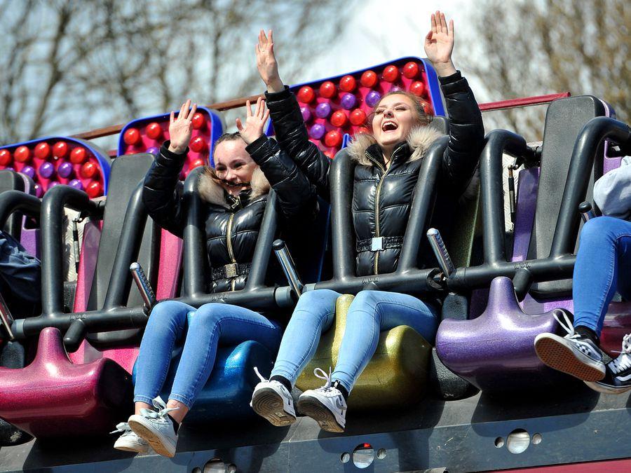 WOLVERHAMPTON COPYRIGHT EXPRESS&STAR TIM THURSFIELD 12/04/21.The fun fair at West Park, Wolverhampton, was proving popular..
