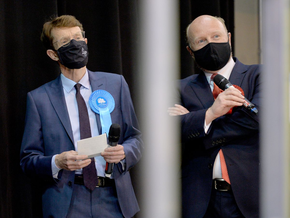 Andy Street, left, with rival Liam Byrne ahead of the declaration in Birmingham