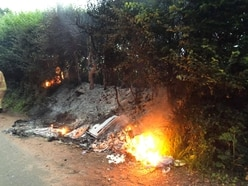 Fly-tipped rubbish fire starts early morning blaze near Bridgnorth