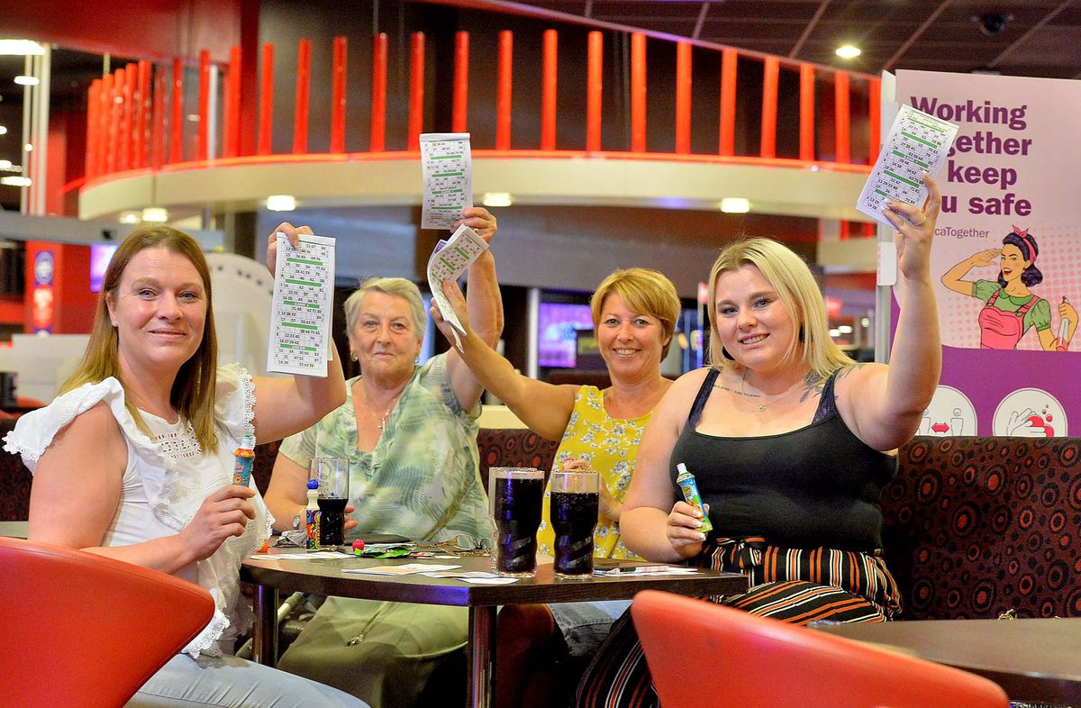 Nikki Edwards, Gloria Woodcock, Helen Baker, Charlotte Woodcock from Oldbury enjoy a game. Charlotte said the whole experience was what brought them to the bingo