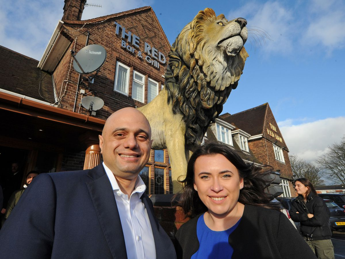 Chancellor Sajid Javid with Tory candidate Nicola Richards during a visit to the Red Lion, West Bromwich