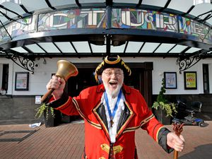 Stafford town crier Peter Taunton helps open the Wetherspoon Picture House after almost a year