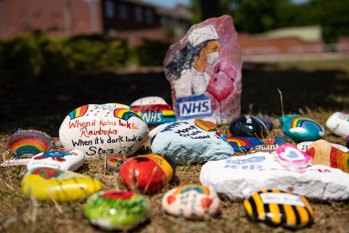 Stones laid by NHS staff to represent remembrance, reflection and positivity outside Walsall Manor Hospital's emergency department