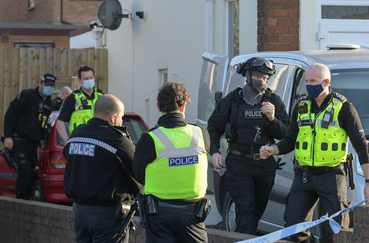 Police at the scene on Boundary Avenue, off Oldbury Road. Photo: SnapperSK