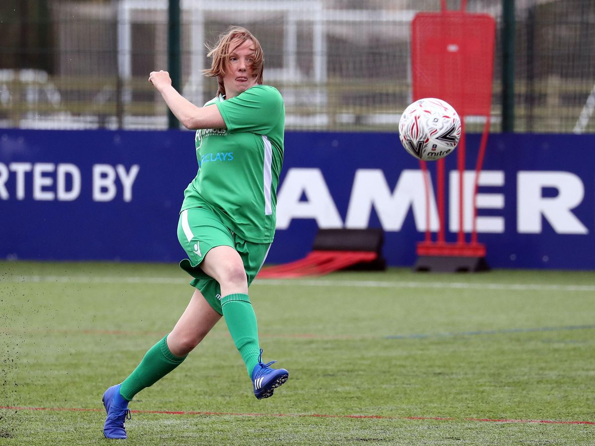 Tracey Crouch MP of the UK Parliamentary Women's Football Club in action during their match against Lewes FC Women's Vets (Gareth Fuller/PA)