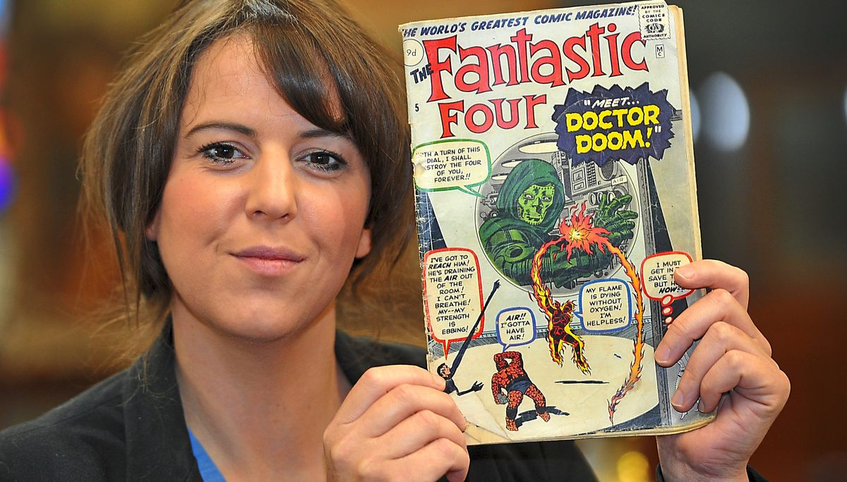 The auction is actually taking place today, but is all online due to the virus. Pictured is head of business development Rachel Holland with a Fantastic Four comic, which sold for a staggering £1450