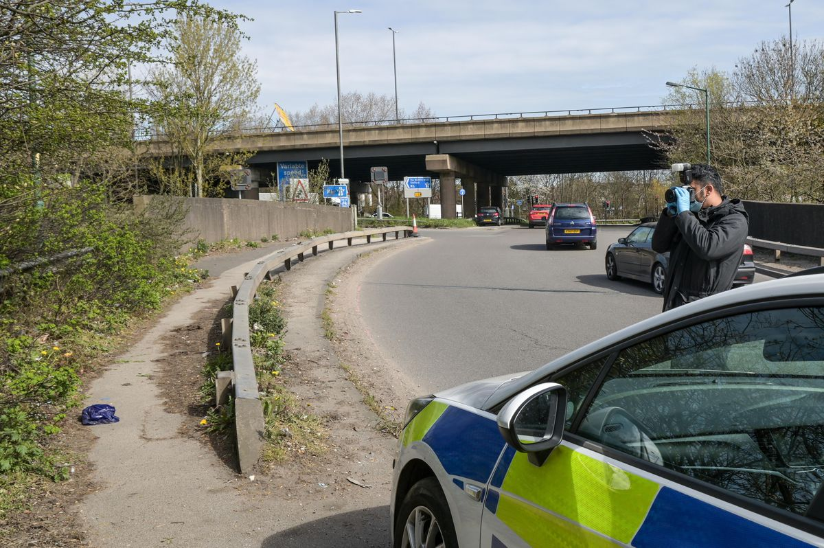 Police at the scene in Wednesbury where remains were found. Photo: SnapperSK