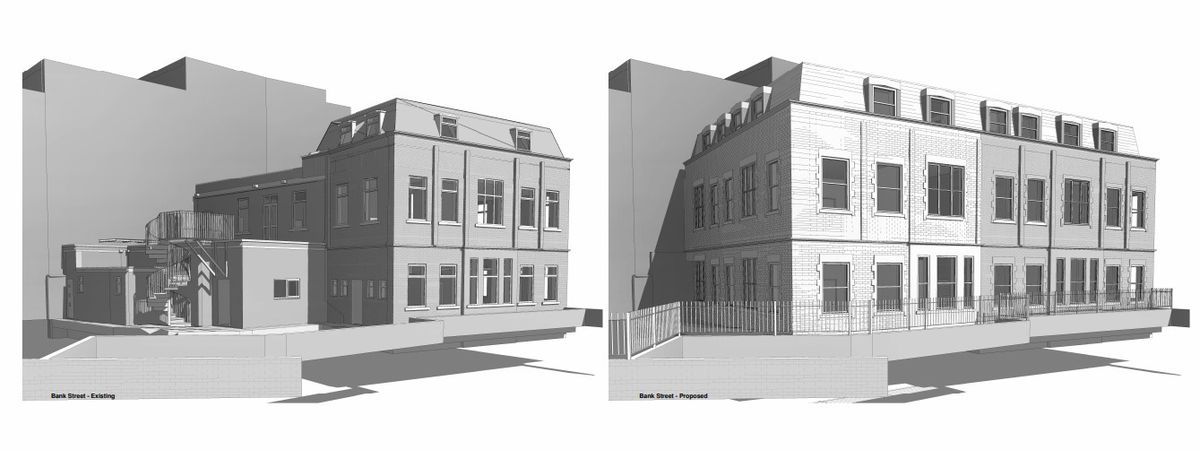 An artist impression of how the building in Dudley Road, Brierley Hill will change when it is turned into flats. PIC: Form Architecture