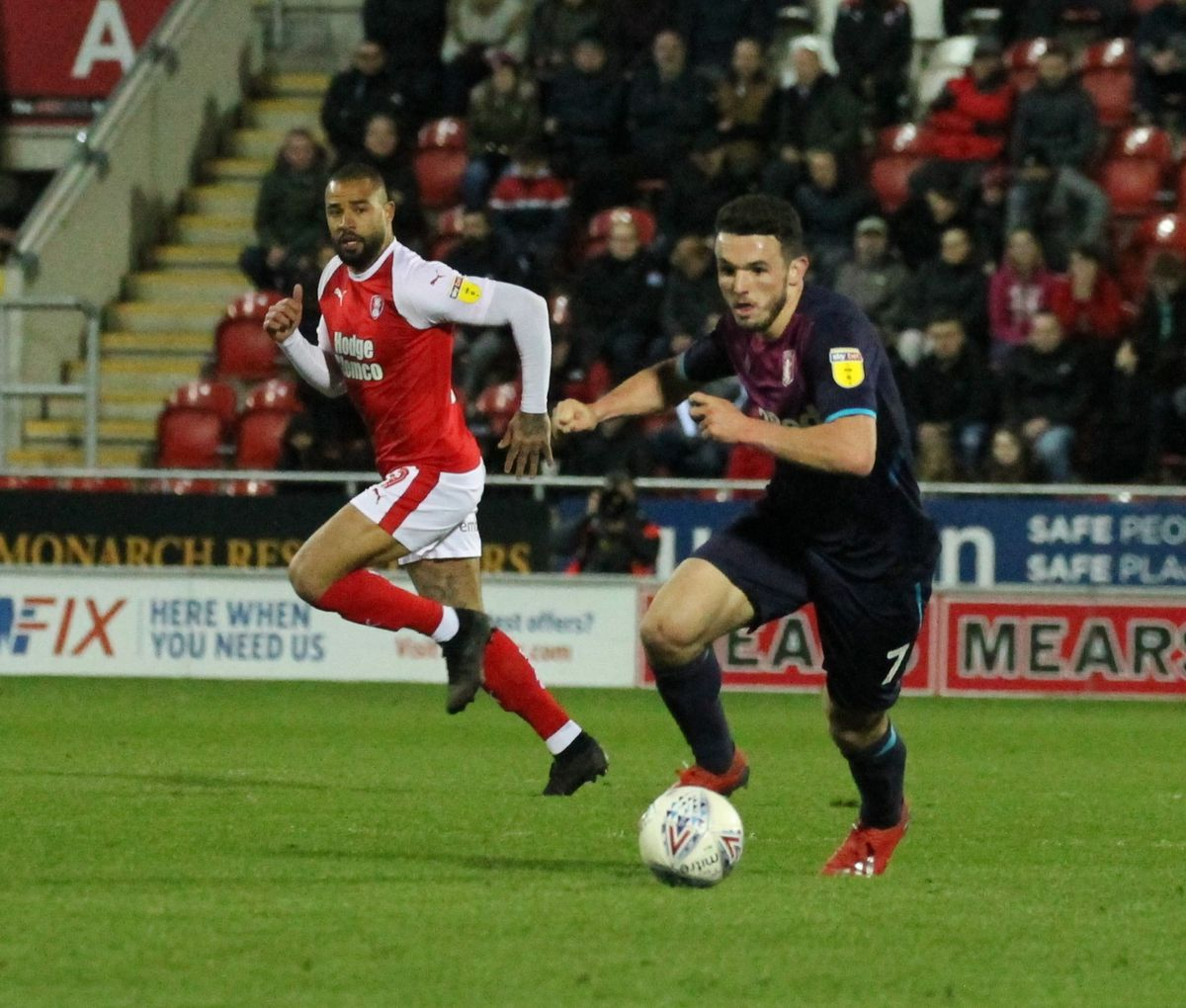 John McGinn in action at Rotherham. Pic: Dave Birt.