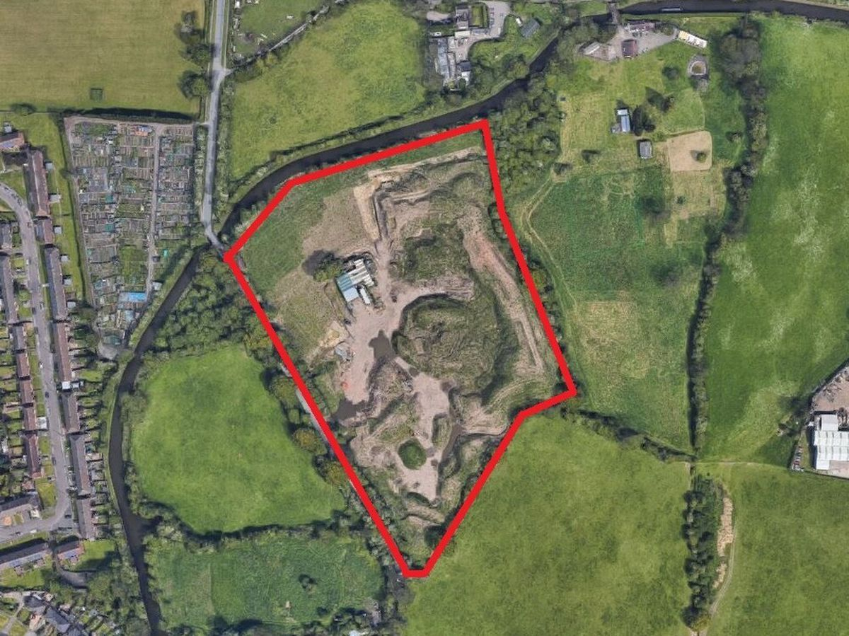 Aerial view showing site of natural burial ground off Winterley Lane in Rushall, Walsall