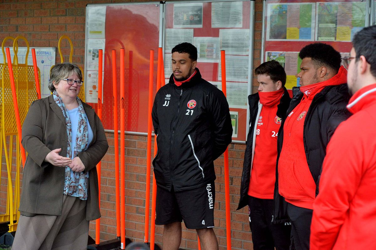 WALSALL COPYRIGHT EXPRESS AND STAR STEVE LEATH 20/05/2021..Walsall FC and MP Therese Coffey  (Secretary of State for Work and Pensions), was visiting to speak to people on the Kickstart scheme. With L-R: Jenson Jones 20, Reece Berry 22 Walsall, Lewis McBrean 21 Walsall, Keenan Bailey 19 Walsall,.