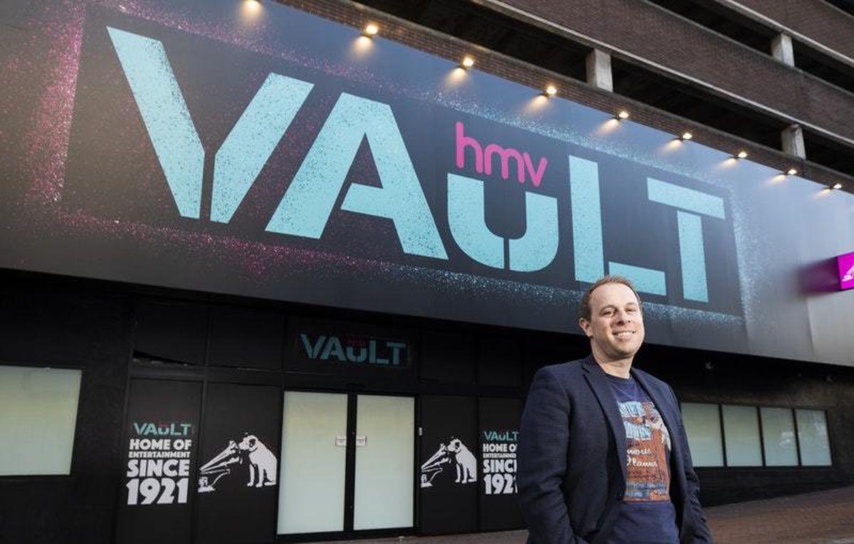 New owner Doug Putman outside the flagship HMV Vault in Birmingham's Dale End