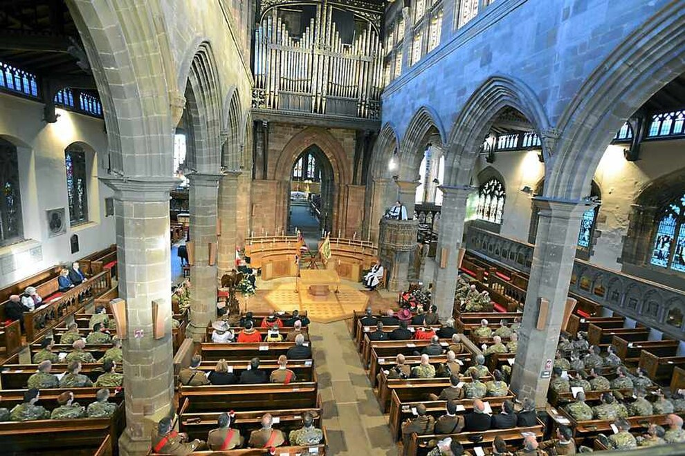 A Service For The Laying Up Of Colours Old West Midlands Regiment At St Peters Collegiate Church In Wolverhampton