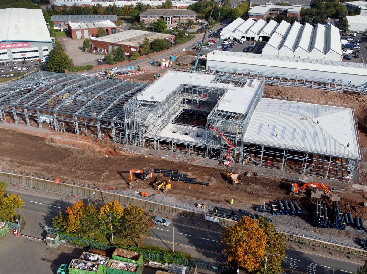 The huge new ambulance hub is being built on Shidas Lane, Oldbury