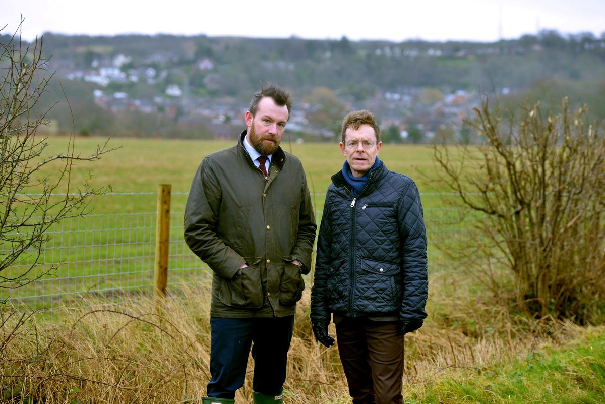 Mayor Andy Street, right, with MP Stuart Anderson at the under-threat Seven Cornfields site
