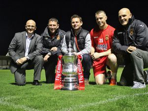 (L to R) Vice Chairman Andy Bullingham, Coach Mark Clifton, Manager Gary Hackett, Captain Stuart Pierpoint and Assistant Manager Jon Ford during the FA Cup event at Stourbridge FC on 22 October 2015. Photo by Will Kilpatrick..