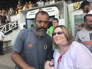 Wolves manager Nuno, left, and Claire Elliott, right
