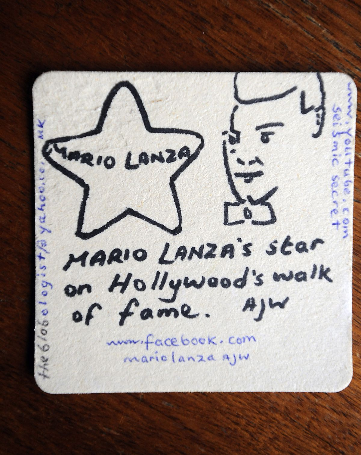 One of the Mario Lanza beer mats discovered in the toilet at the Pyle Cock Inn, Wednesfield..