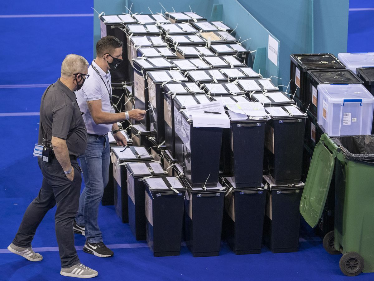 Ballot boxes before being counted