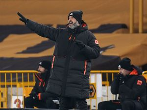 """Wolverhampton Wanderers manager Nuno Espirito Santo gestures on the touchline during the Premier League match at Molineux Stadium, Wolverhampton. PA Photo. Picture date: Tuesday January 12, 2021. See PA story SOCCER Wolves. Photo credit should read: Tim Keeton/PA Wire. RESTRICTIONS: EDITORIAL USE ONLY No use with unauthorised audio, video, data, fixture lists, club/league logos or """"live"""" services. Online in-match use limited to 120 images, no video emulation. No use in betting, games or single club/league/player publications."""