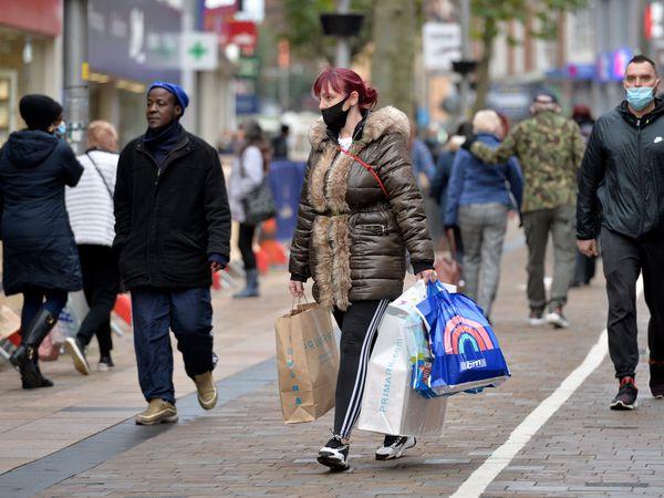 A shopper in Dudley Street, Wolverhampton