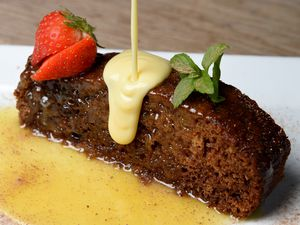 And now for pudding – the sticky toffee pudding with custard was one of the luxurious desserts