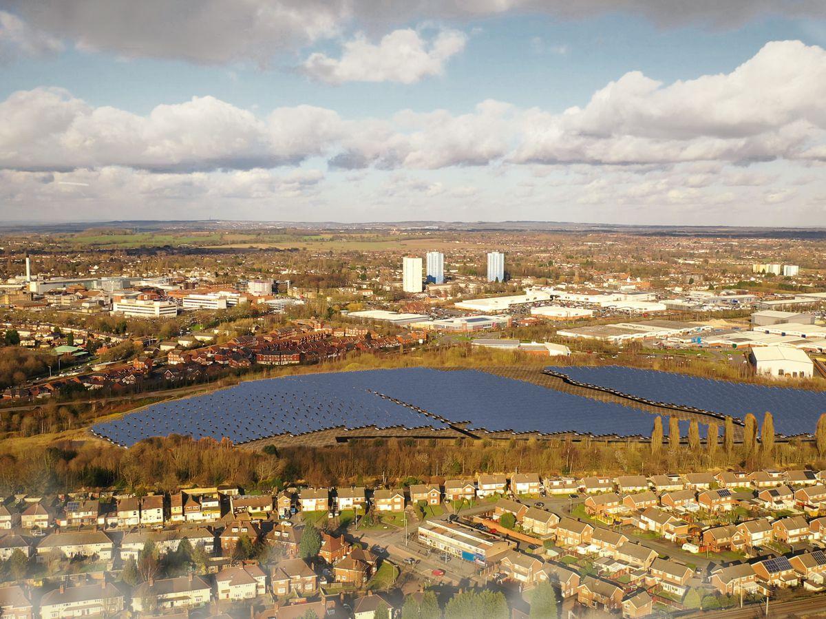 A CGI of the proposed solar farm on Planetary Road, Wolverhampton