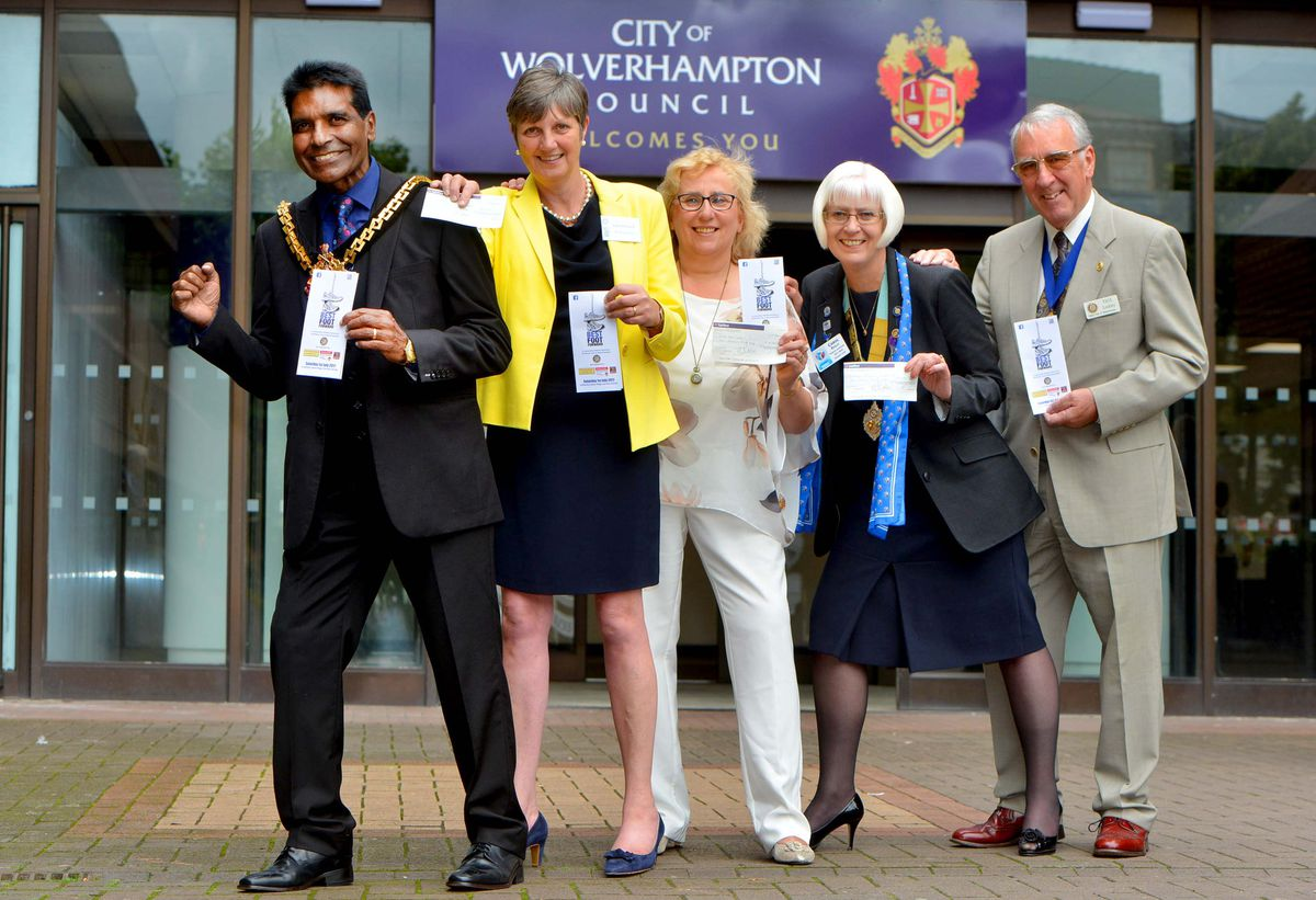 Wolverhampton Mayor Elias Mattu presented cheques to Susan Husband, MS Therapy Centre, Jane Ward, Central Youth Theatre and Carol Reilly, District Rotary Governor. Wolverhampton Rotary Club's Acting President Paul Lockley is also pictured.