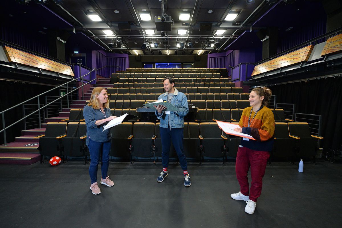 Dawn Butler, Mateo Oxley and Katie Burchett, begin rehearsals at Arena Theatre, Wolverhampton, as they prepare for the reopening of the theatre