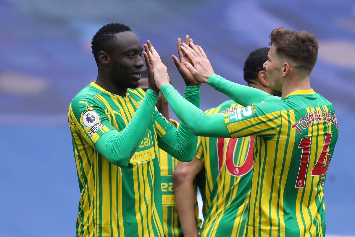 Mbaye Diagne of West Bromwich Albion celebrates after he scores a goal to make it 1-4 with Conor Townsend of West Bromwich Albion. (AMA)
