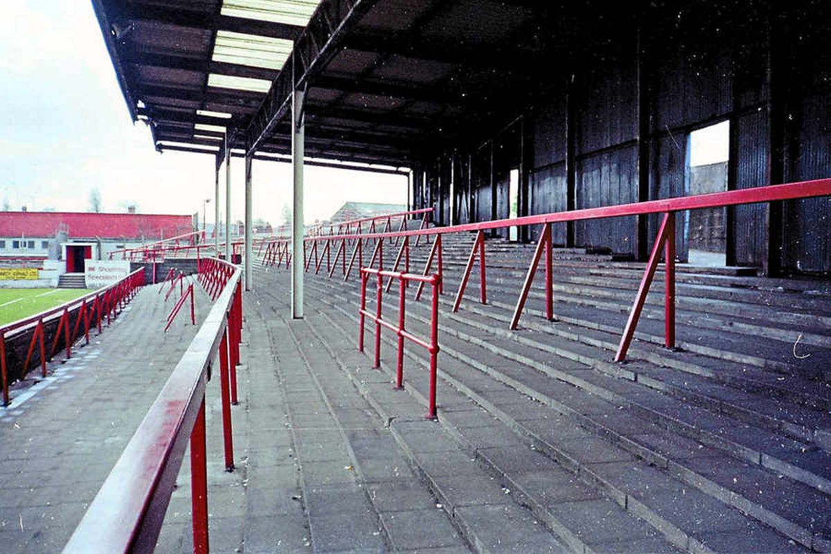 The old Hilary Street End at Fellows Park in Walsall.