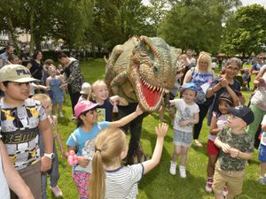 Youngsters meet Pete the baby Tyrannosaurus Rex