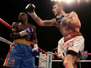 Sam Eggington (right) in action against Joseph Lamptey during their Commonwealth Welterweight title fight at the Barclaycard Arena, Birmingham..