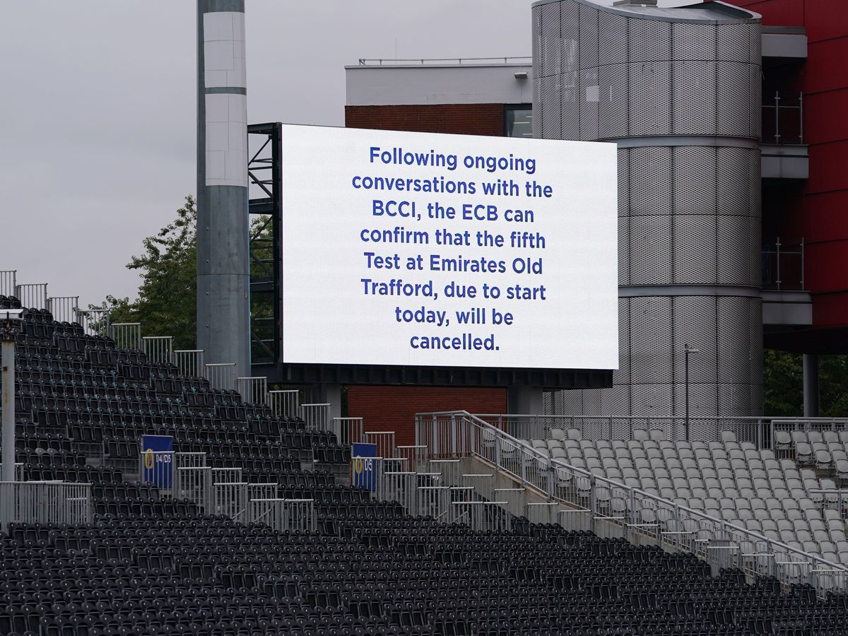 A message displayed at Emirates Old Trafford after the fifth Test between England and India was abandoned over Covid concerns