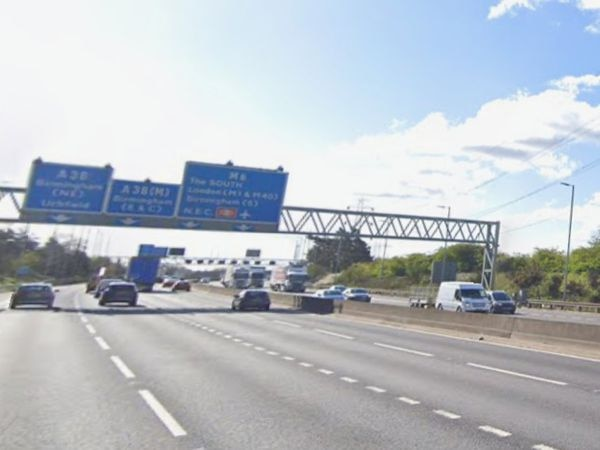 The collision happened on the M6 between junctions 6 and 7. Photo: Google