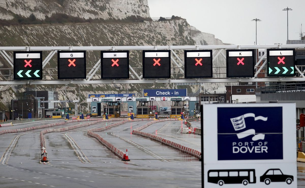 A view of check-in at the Port of Dover in Kent on the first fully operational day at the port under post-Brexit regulations. PA Photo. Picture date: Monday January 4, 2021. See PA story POLITICS Brexit. Photo credit should read: Gareth Fuller/PA Wire.