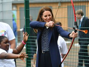 The Duchess of Cambridge takes part at a an archery session at The Way Youth Zone in Wolverhampton