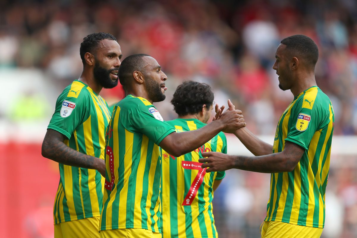 Matt Phillips of West Bromwich Albion celebrates after scoring a goal to make it 1-2 with Kenneth Zohore of West Bromwich Albion. (AMA)
