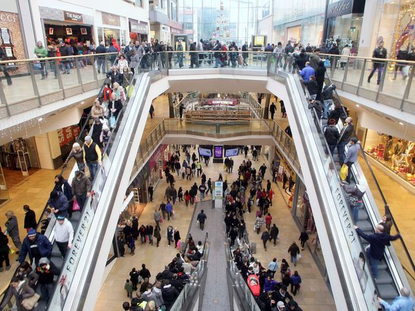 FILE PICTURE, Linked to todays NTI story NTIFALL, November 13, 2012, about how a woman died after falling from the top floor at the Bullring shopping centre in Birmingham, UK..   Shoppers in Birmingham are out in their droves for last minute Christmas gifts as shops slash prices to bring back customers following heavy snow fall in the recent weeks. GV of Bullring shopping centre.