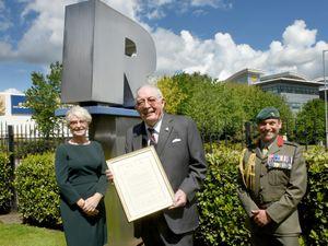 Major Sylvia Parkin Ex SaBRE, Regional Director, Roy Richardson and Royal Marines Brigadier Jock Fraser MBE ADC, Naval Regional Commander.