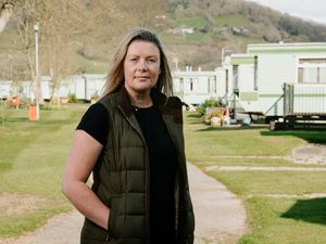 Cheryl Hall, of Tanat Holiday Park, has part of her park in Wales, and part in England