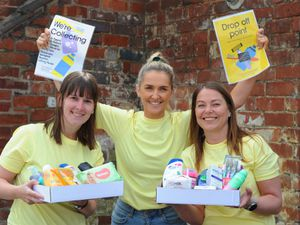 STAFFS PIC / DAVID HAMILTON PIC / EXPRESS AND STAR PIC 24/4/21 Appealing for donations to tackle hygiene poverty, volunteers (left-right) Carly Baldwin, Beth Krucien, and Ali Bhageerutty, at The Hygiene Bank,  Cannock..