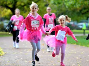 Elizabeth and Phoebe Jones from Willenhall at Race for Life in West Park