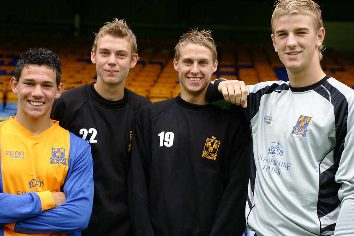 Edwards as a youngster at Shrewsbury in 2006 with Joe Hart (far right), Marco Adaggio (far left) and Gavin Cadwallader