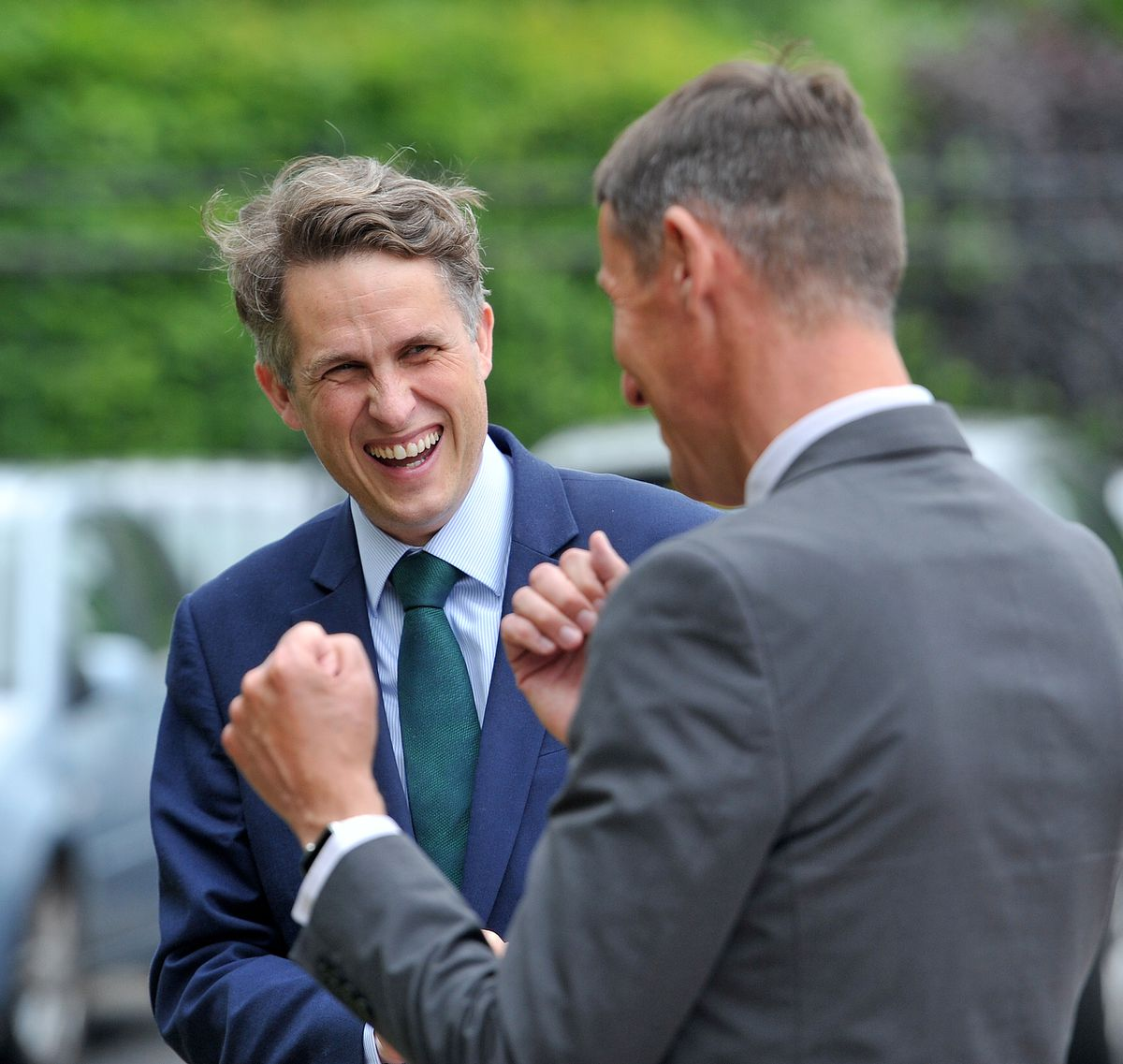 Gavin Williamson enjoys a chat with Richard Gill, CEO at Arthur Terry Learning Partnership