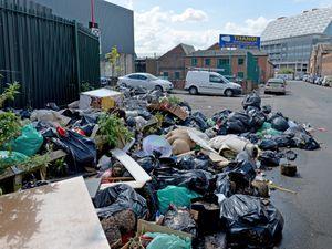 The rubbish along Adderley Street under the shadow of Midland Metropolitan Hospital